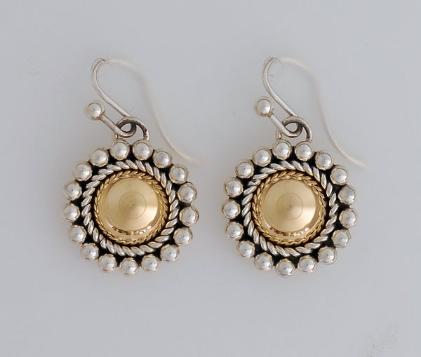 Earrings,14Kt Gold Domes with Sterling Silver highlights by Artie Yellowhorse (Navajo)