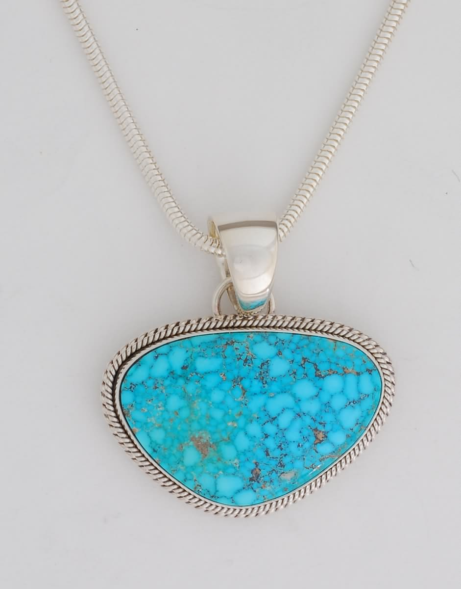 Pendant, with Kingman Turquoise by Artie Yellowhorse (Navajo)