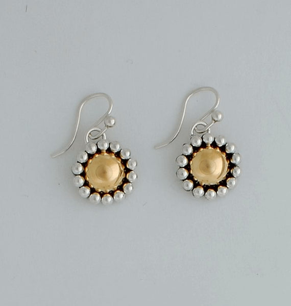Sterling Silver and Gold Earrings by Artie Yellowhorse