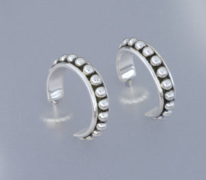 Sterling Hoop Earrings with Beads by Artie Yellowhorse