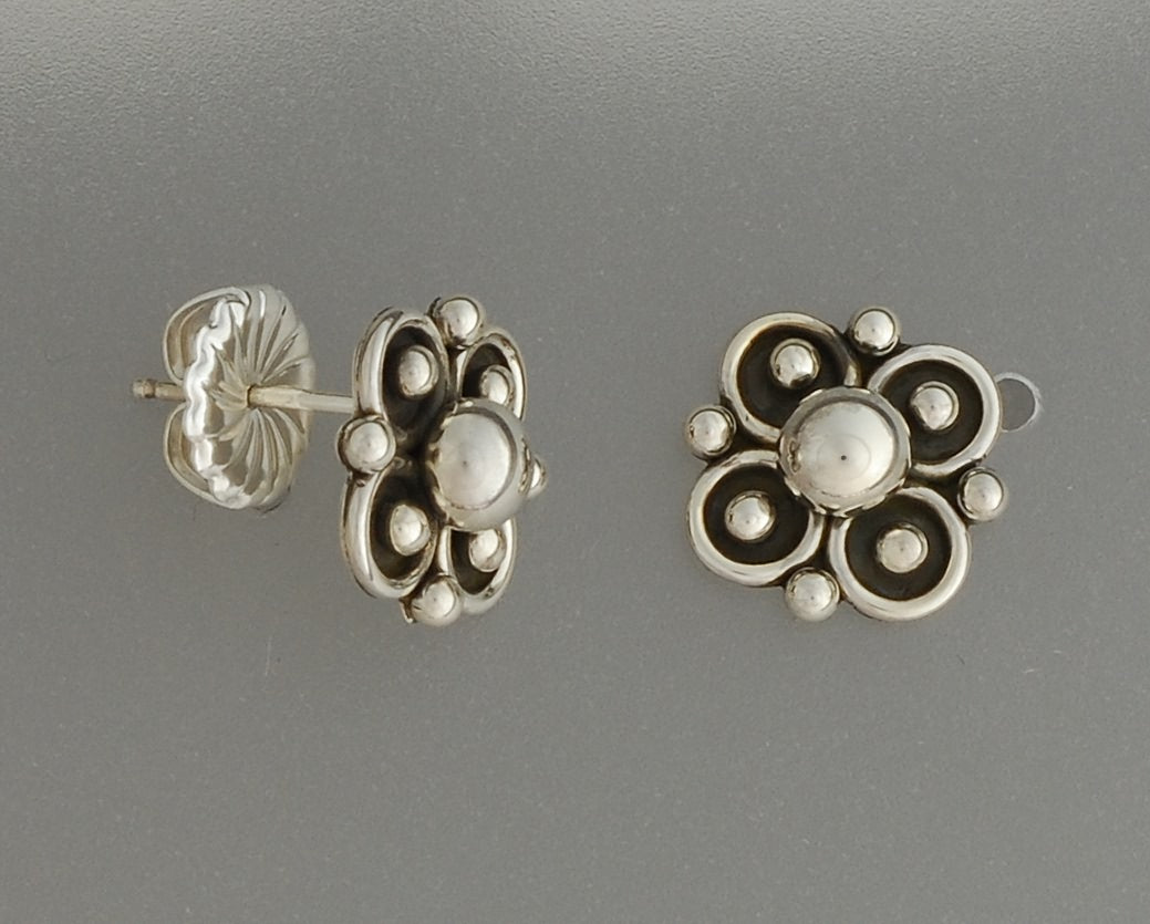 Earrings, Clover Flower on Posts by Artie Yellowhorse (Navajo)