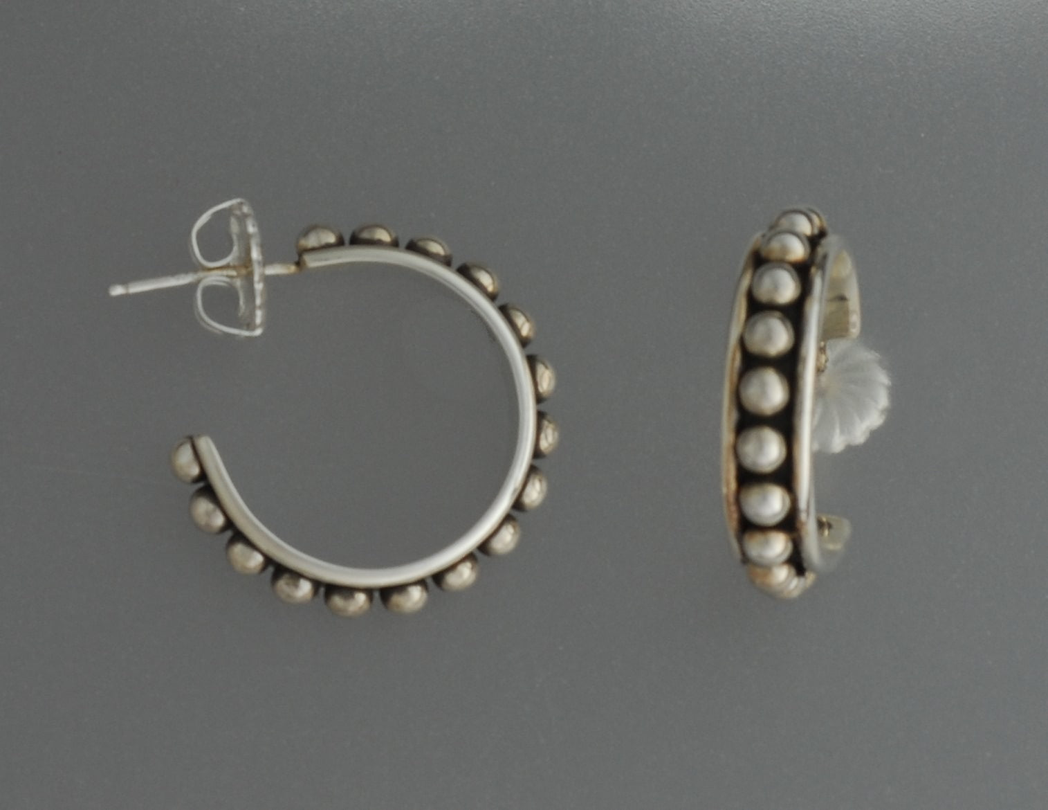 Earrings, Sterling Silver Half-Hoops by Artie Yellowhorse (Navajo)