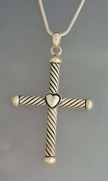 Pendant, Sterling Silver Cross w/Heart by Artie Yellowhorse (Navajo)