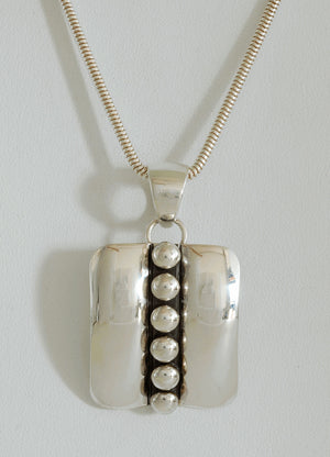 Rectangular Pendant with Center Beading by Artie Yellowhorse