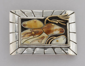 Denise Wallace Caribou and Seals Belt Buckle