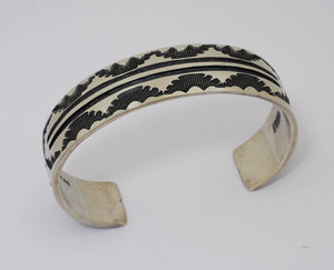 Large Bracelet with Overlay by Jerrold Tahe