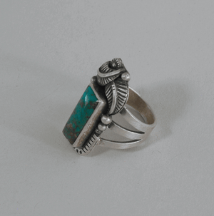 Turquoise and Sterling Silver Ring by Leonard Chee