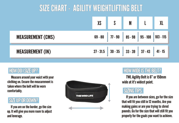 The WOD Life - Agility Belt - Black - Size Chart