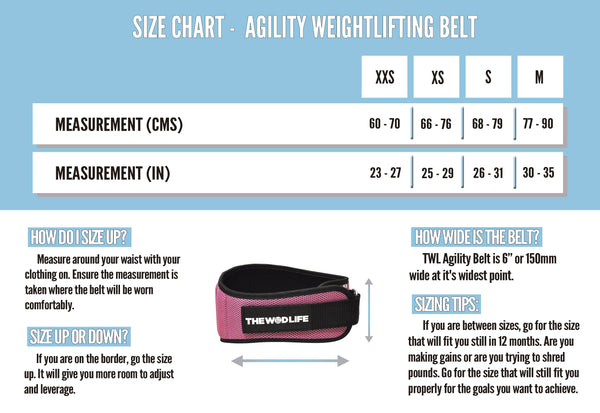 The WOD Life - Agility Belt - Pink - Size Chart