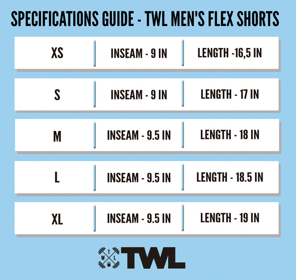 TWL Gear Flex Short - Sizing Specifications - 2017