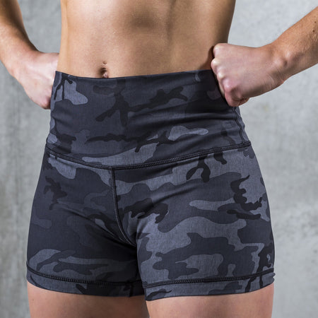 TWL - HIGH WAISTED WOMENS BOOTY BALANCE SHORTS - CAMO/BLACK