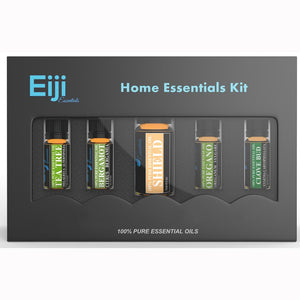 Home Essential Kit By Eiji Essentials - 100% Pure Essential Oils - 5 Bottles - Naturo Sciences