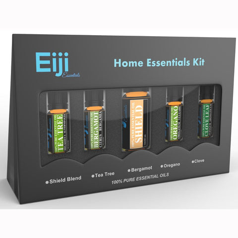 Home Essential Kit By Eiji Essentials - 100% Pure Essential Oils - 5 Bottles