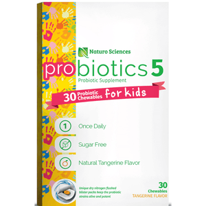 Kids Chewable Probiotic Supplement; 30 Probiotic Chewables for Children in Dry Nitrogen Flushed Blister Packs, Guaranteed Live Cultures, 30 Count, Once Daily, Sugar Free, Natural Tangerine Flavor - Naturo Sciences