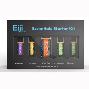 Home Essentials Starter Kit By Eiji Essentials - 100% Pure Essential Oils - 5 Bottles - Naturo Sciences