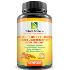 Organic Tumeric Curcumin with BioPerine and Ginger By Naturo Sciences- 120 Capsules