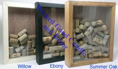 "Wooden Shadow Box Wine Cork Holder with Corkscrew 9""x15"" - Good Times Good Wines -  - Wicked Good Candle and Decor - 4"