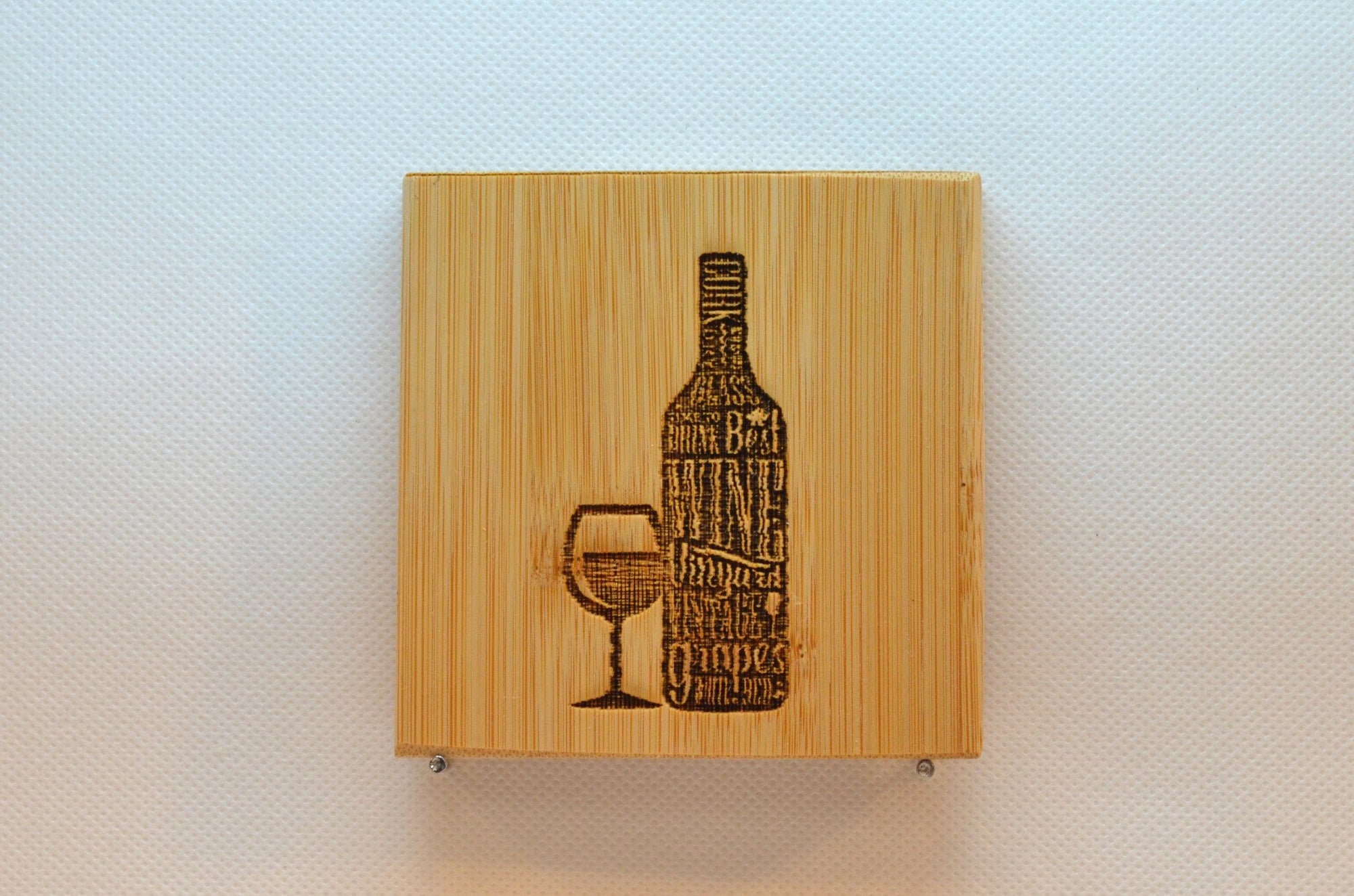 Laser Engraved Bamboo Coaster - Wine Bottle and Glass
