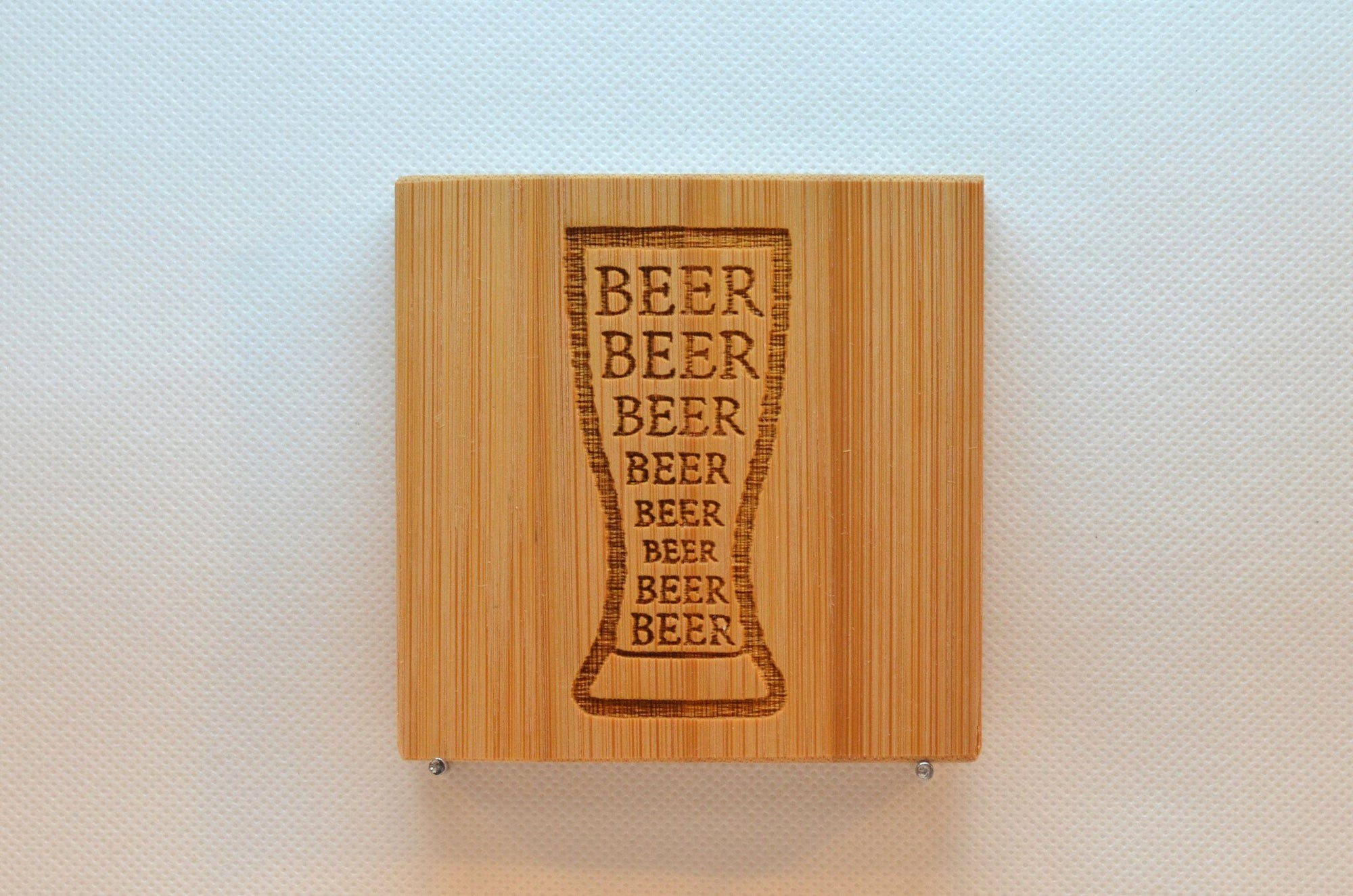 Laser Engraved Bamboo Coaster - Beer Beer Beer in Glass