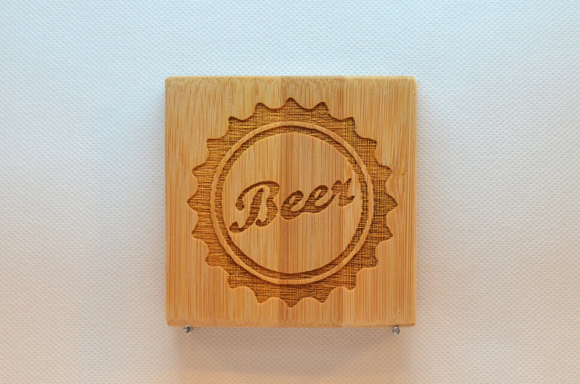 Laser Engraved Bamboo Coaster - Beer Cap