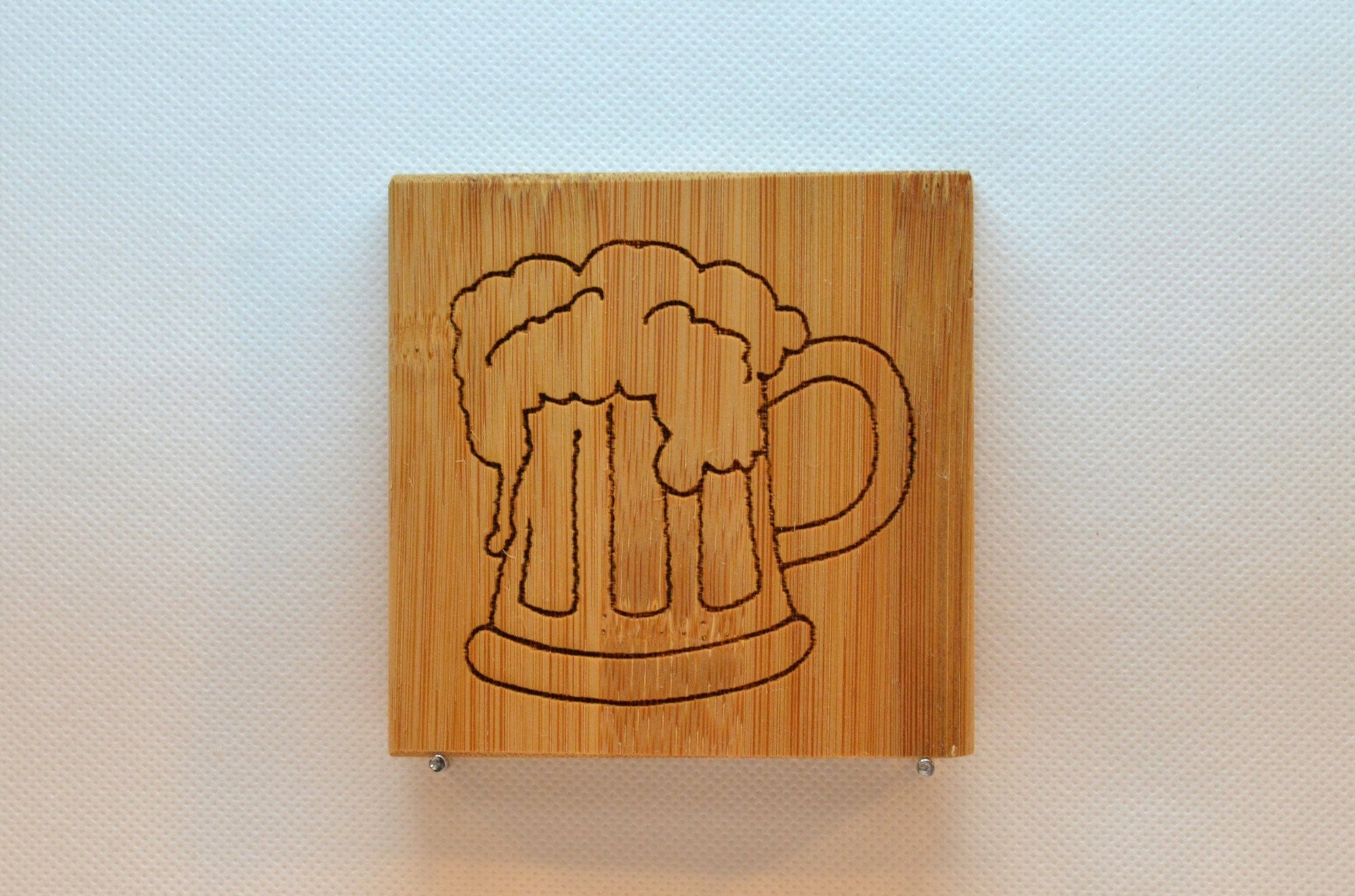 Laser Engraved Bamboo Coaster - Beer Mug