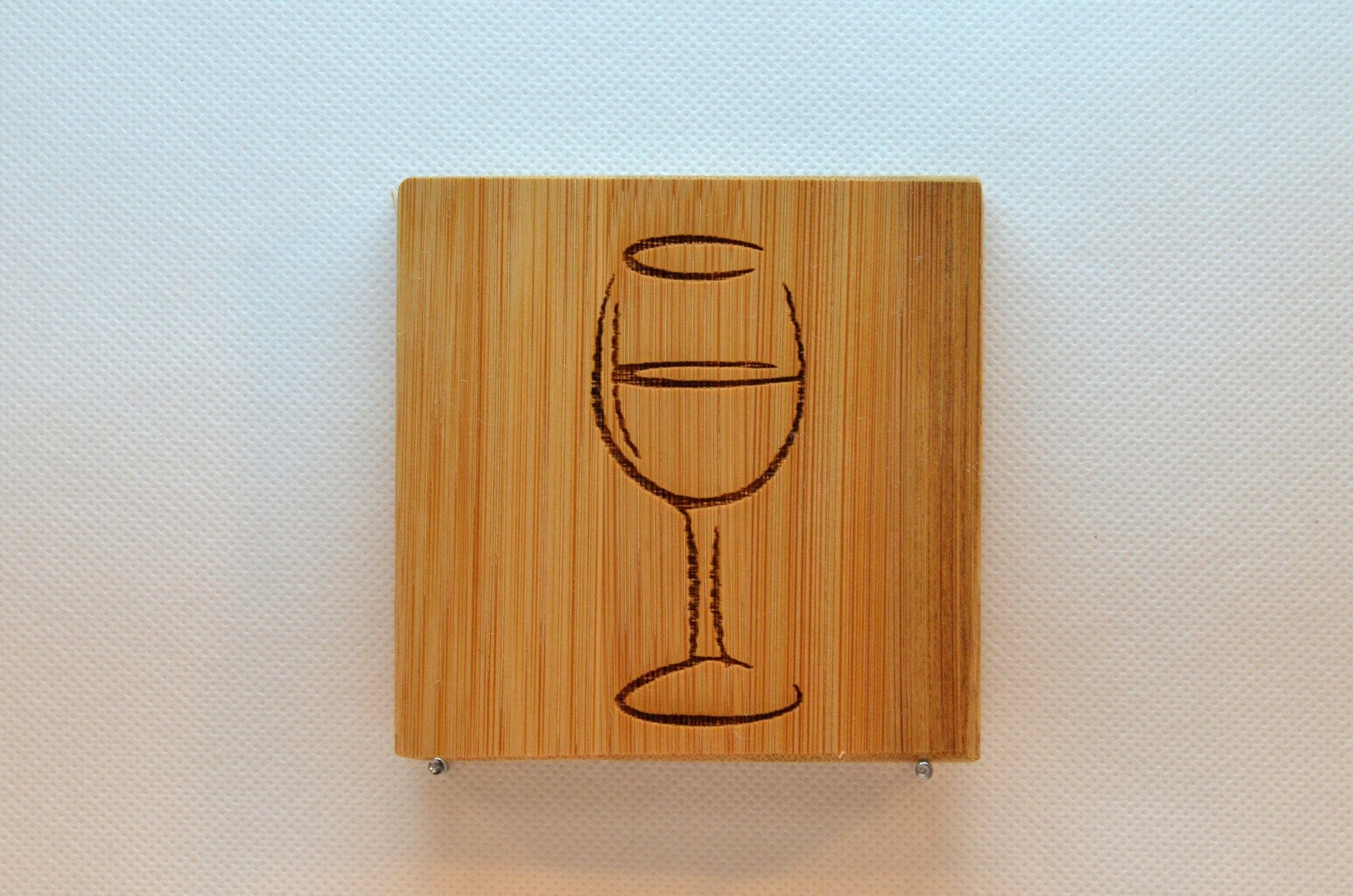 Laser Engraved Bamboo Coaster - Wine glass silhouette