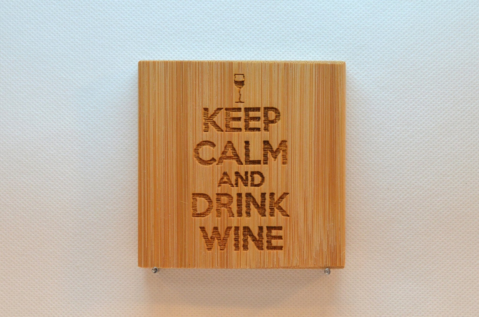 Laser Engraved Bamboo Coaster - Keep calm and drink wine
