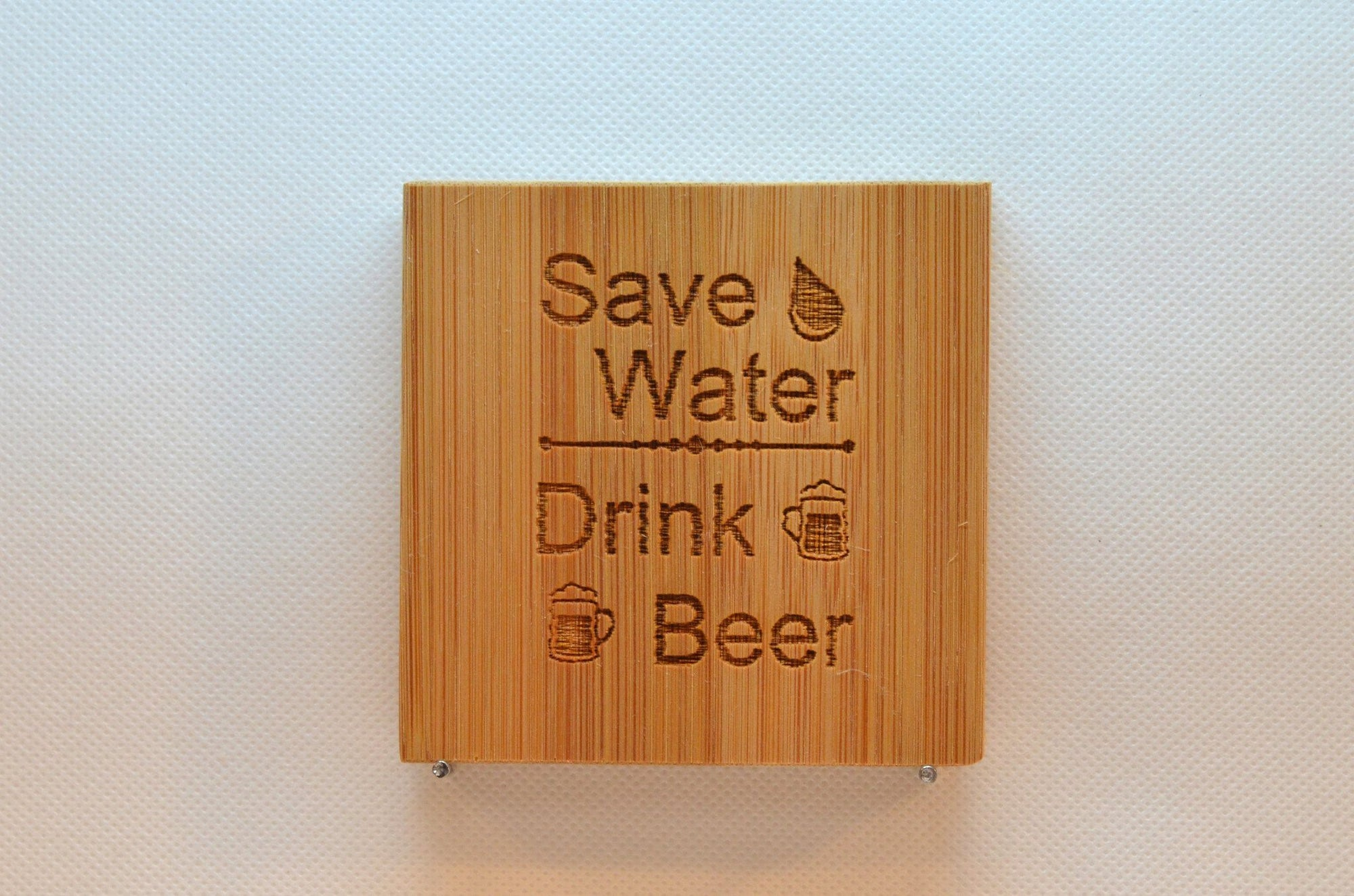 Laser Engraved Bamboo Coaster - Save water drink beer