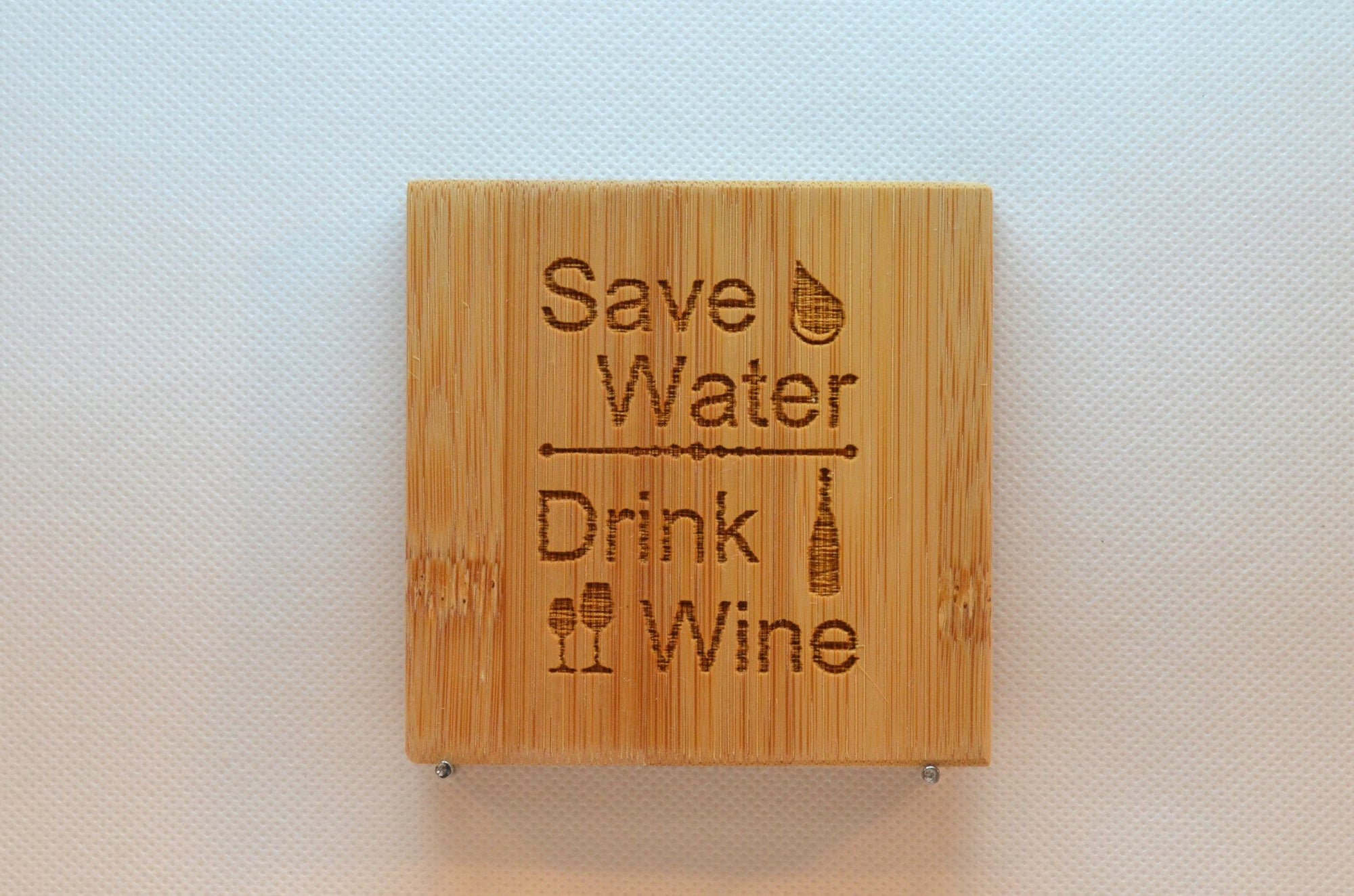 Laser Engraved Bamboo Coaster - Save water drink wine
