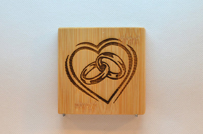 Laser Engraved Bamboo Coaster - Heart with rings