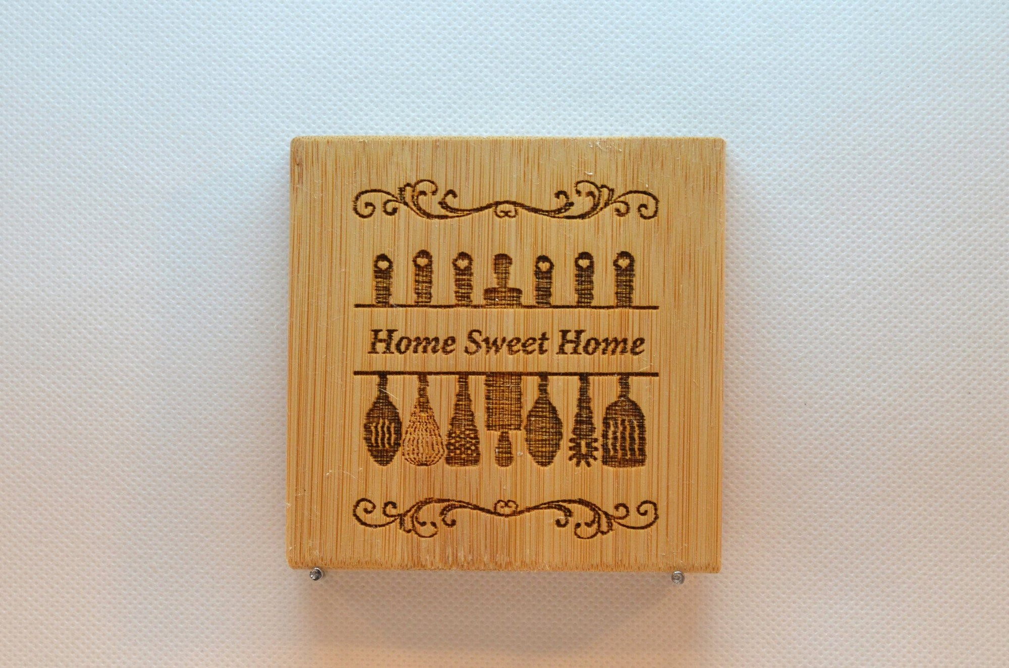 Laser Engraved Bamboo Coaster - Utensils with Home Sweet Home