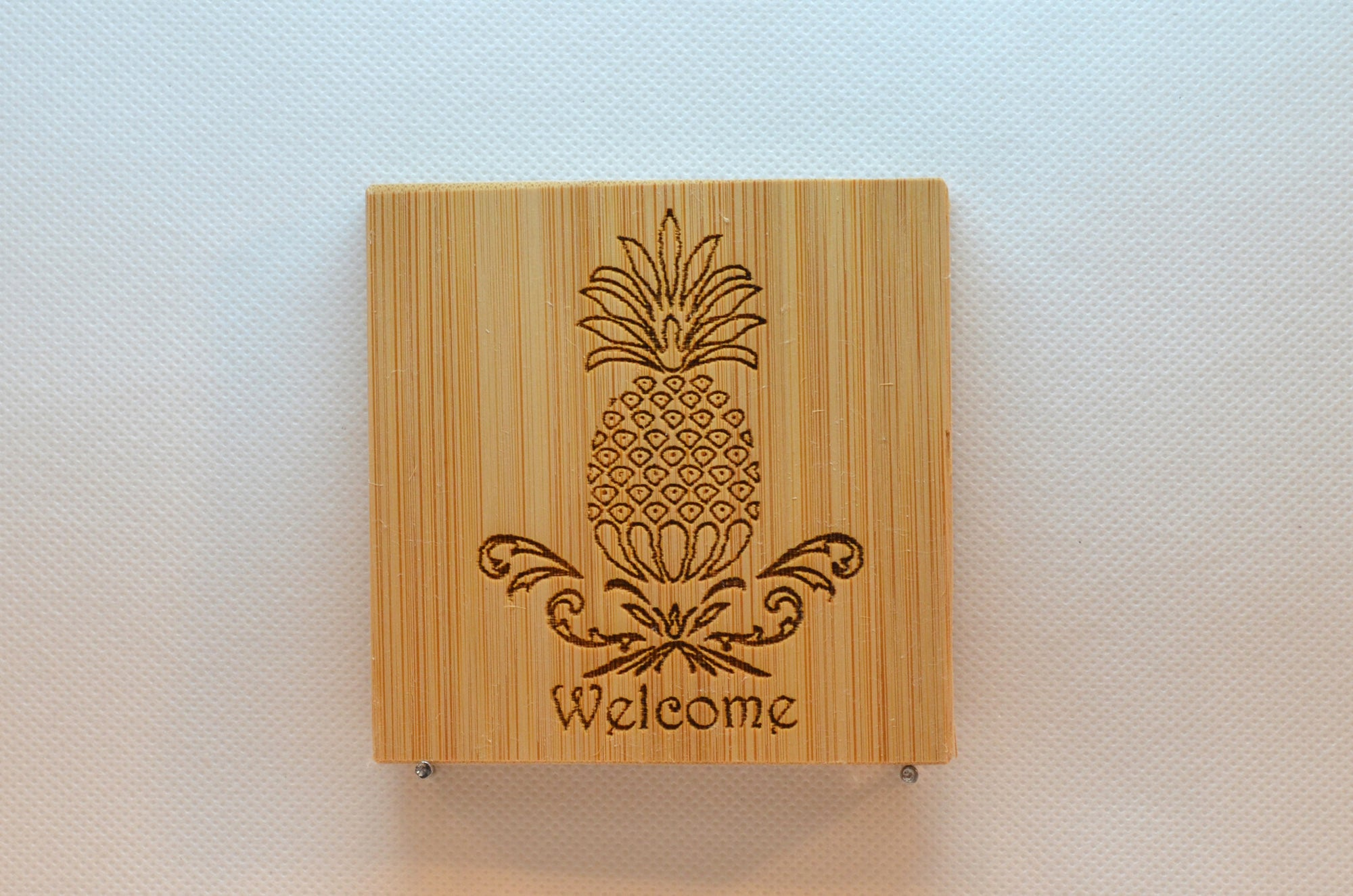 Laser Engraved Bamboo Coaster - Welcome Pineapple