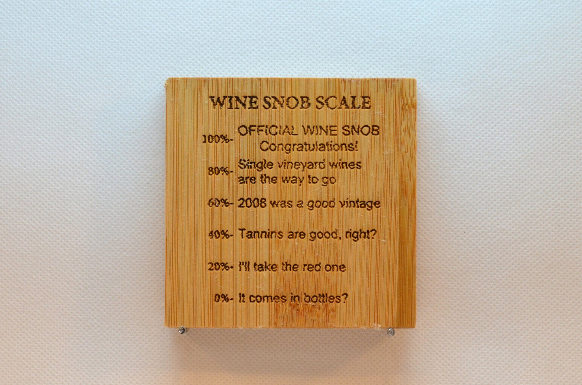 Laser Engraved Bamboo Coaster - Wine Snob Scale