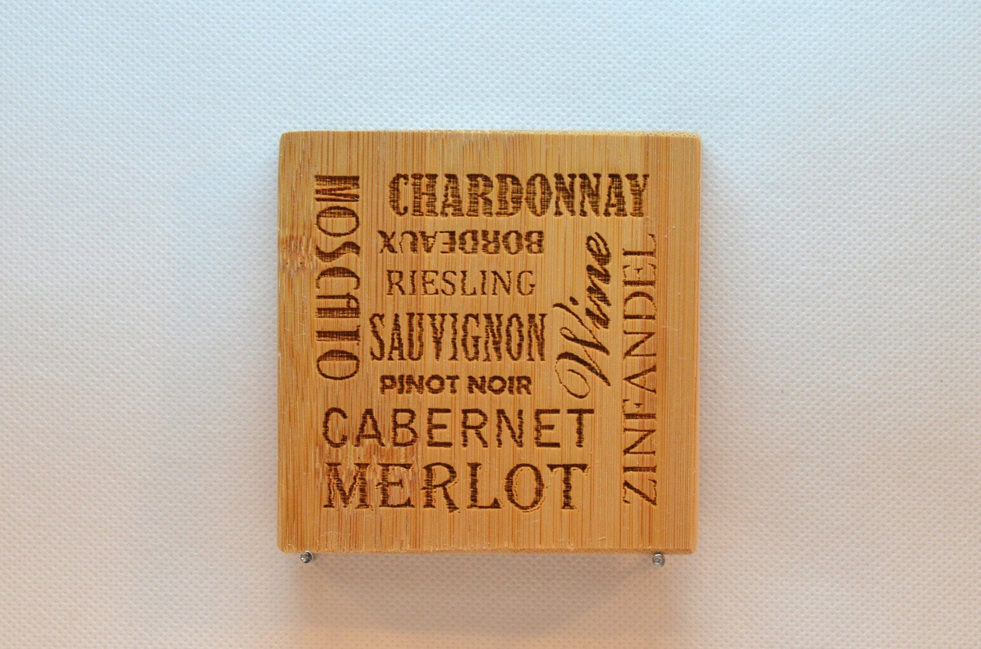 Laser Engraved Bamboo Coaster - Wine types