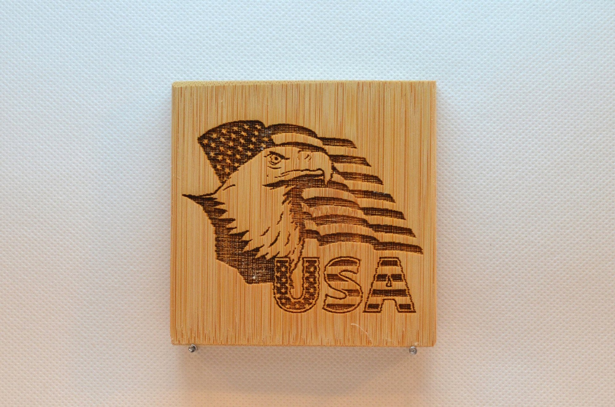 Laser Engraved Bamboo Coaster - USA with Eagle and Flag