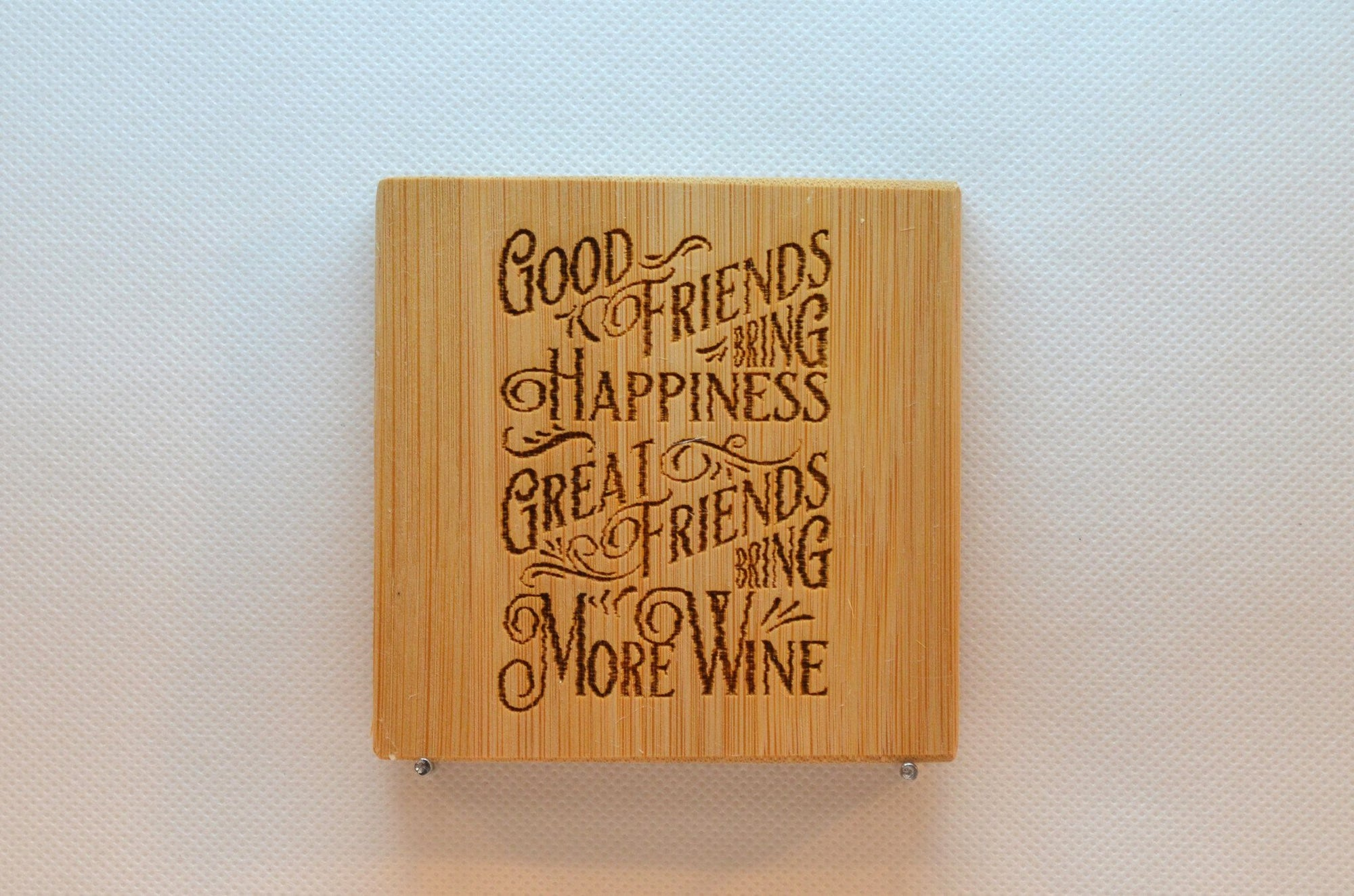 Laser Engraved Bamboo Coaster - Good friends bring happiness