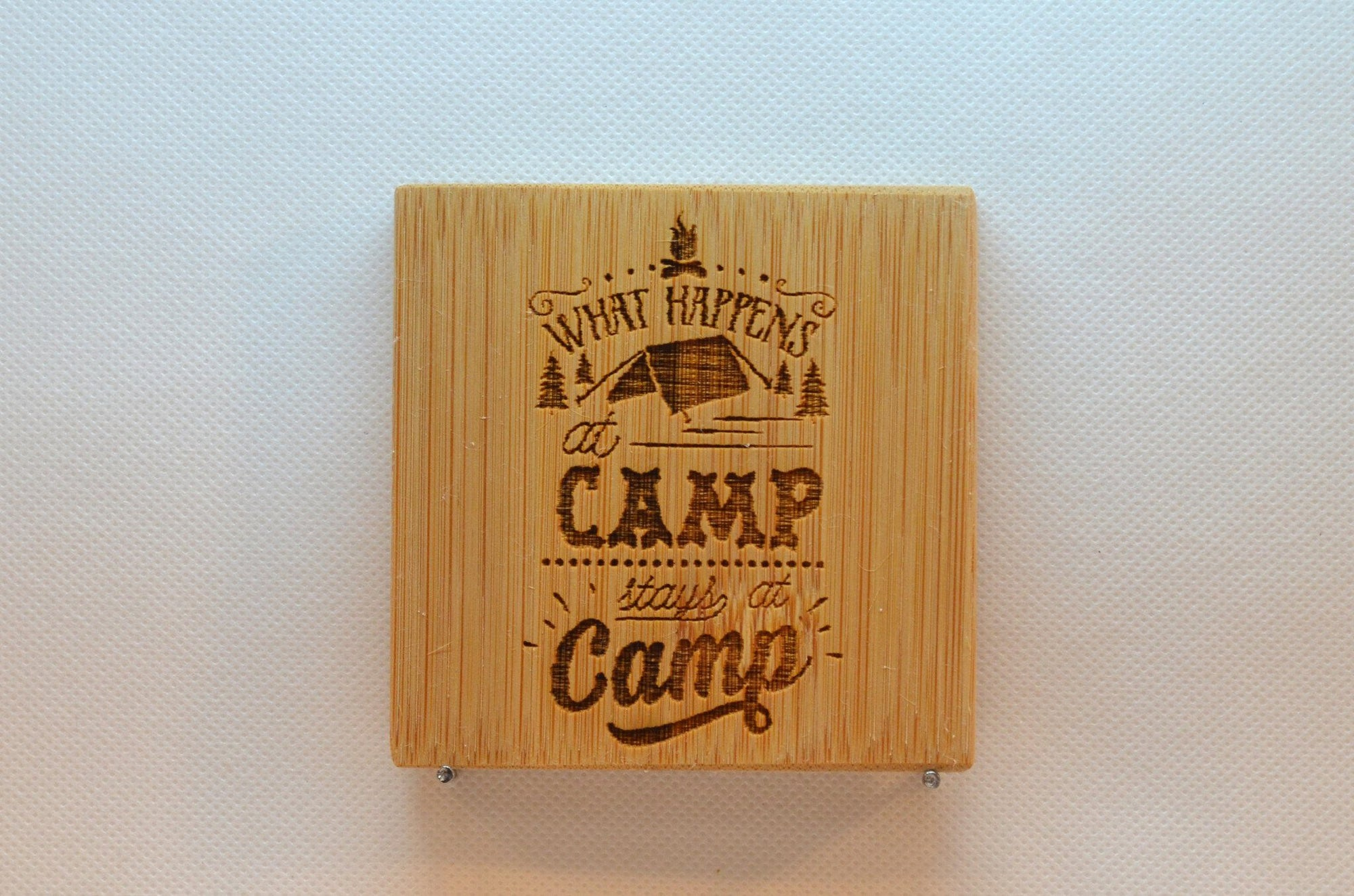 Laser Engraved Bamboo Coaster - What happens at camp stays at camp