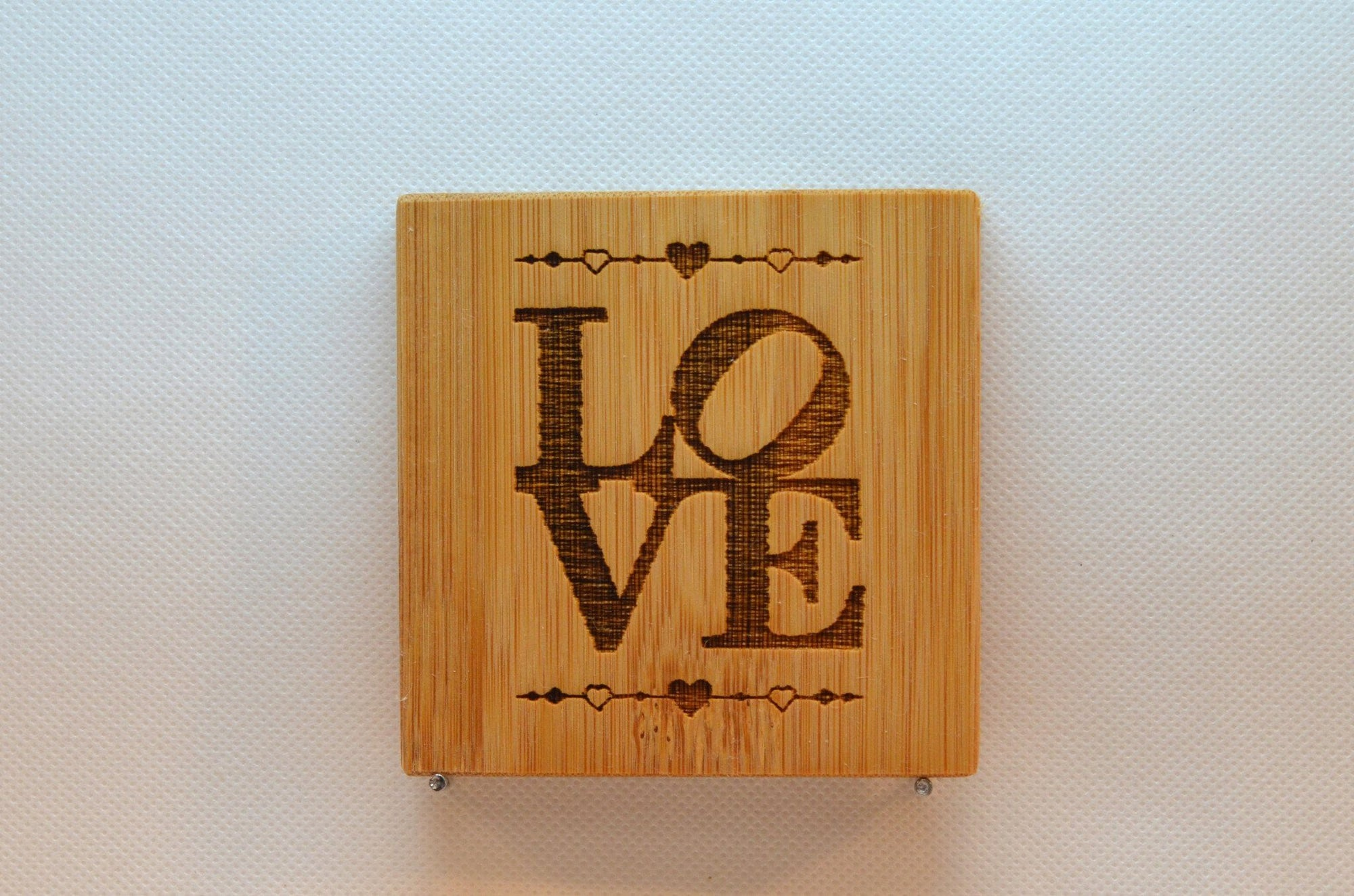 Laser Engraved Bamboo Coaster - Love with hearts