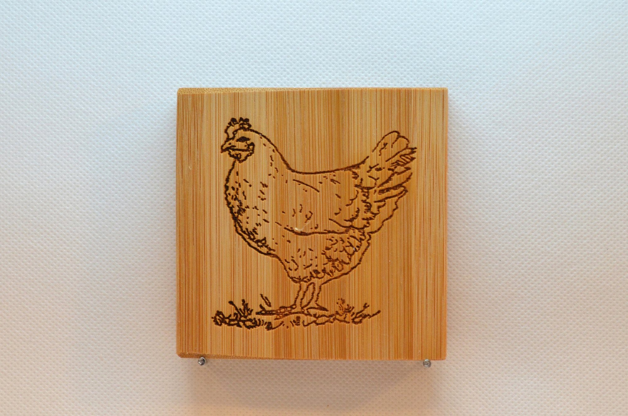 Laser Engraved Bamboo Coaster - Chicken