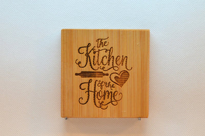 Laser Engraved Bamboo Coaster - The kitchen heart of the home