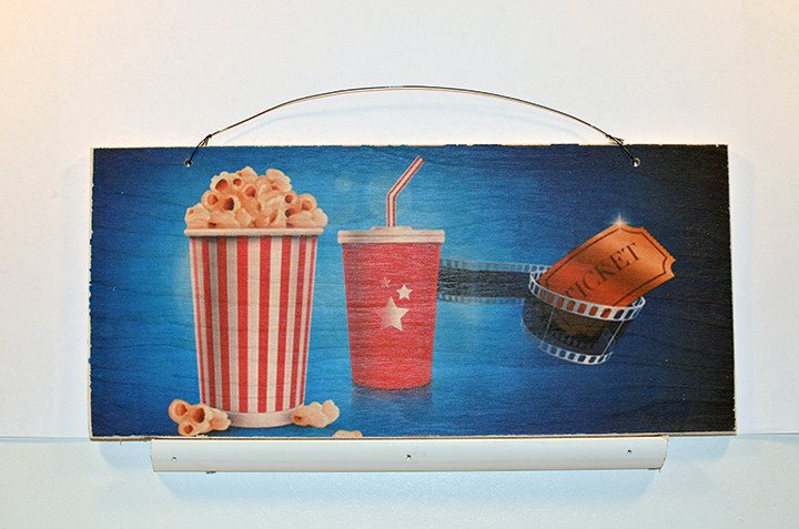 Wooden Wall Sign 10x5 - C002 - Movie popcorn and ticket -  - Wicked Good Candle and Decor - 1