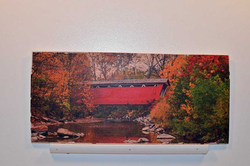 Wooden Wall Sign 10x5 - C007 - Red covered bridge -  - Wicked Good Candle and Decor - 1