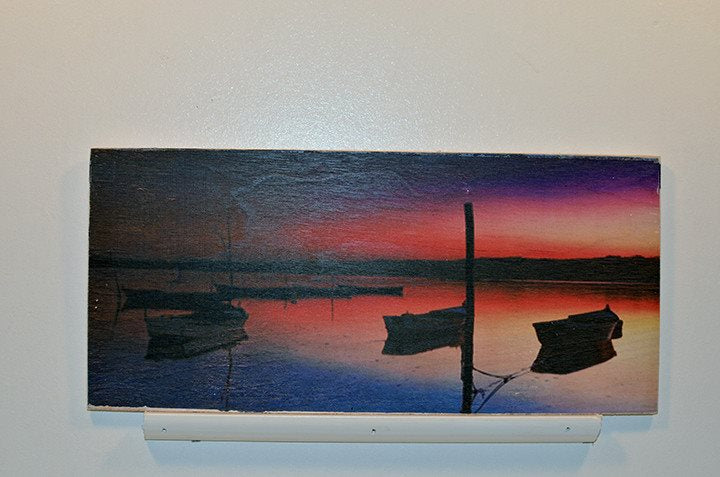 Wooden Wall Sign 10x5 - C013 - Ocean bay with little boats -  - Wicked Good Candle and Decor - 1