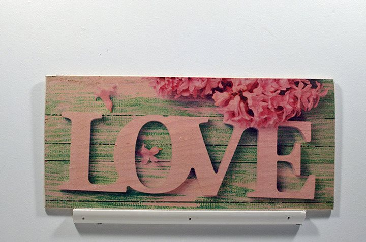 Wooden Wall Sign 10x5 - C014 - Love with flower blue background -  - Wicked Good Candle and Decor - 2