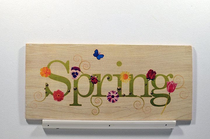 Wooden Wall Sign 10x5 - C015 - Spring with flowers - Wall Sign - Wicked Good Candle and Decor - 1