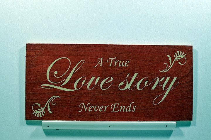 Wooden Wall Sign 10x5 - S004 - A true love story never ends - Wall Sign - Wicked Good Candle and Decor - 1