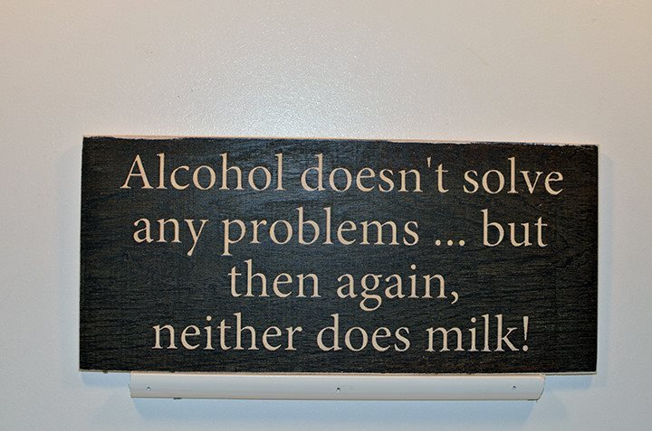 Wooden Wall Sign 10x5 - S005 - Alcohol doesn't solve any problems... - Wall Sign - Wicked Good Candle and Decor - 1