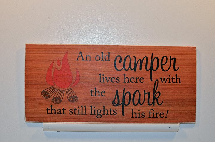 Wooden Wall Sign 10x5 - S008 - An old camper lives here with the spark... - Wall Sign - Wicked Good Candle and Decor - 1