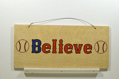 Wooden Wall Sign 10x5 - S012 - Believe with Baseballs - Wall Sign - Wicked Good Candle and Decor - 1