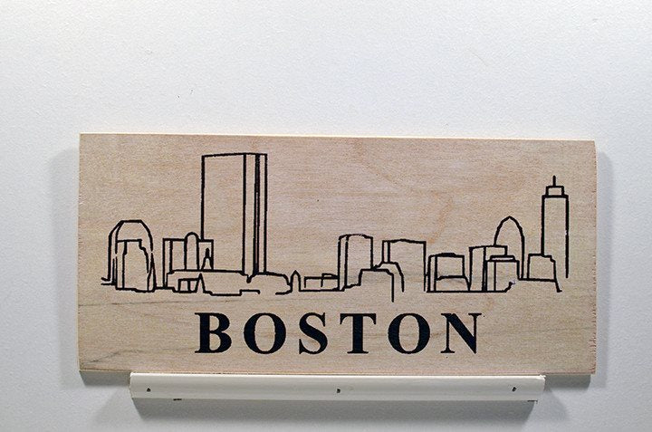 Wooden Wall Sign 10x5 - S014 - Boston skyline - Wall Sign - Wicked Good Candle and Decor - 1